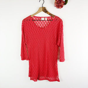 [CHICO'S] Netted Mesh Coral Tunic Top